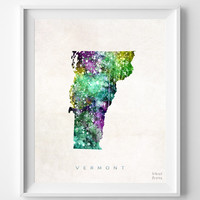 Vermont Watercolor Map Print