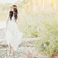 Boho lace wedding dress magical soft dreamy skirt with strapless French lace bodice and lace arm bands