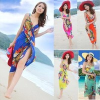 Summer Women Sexy Bohemian Sarong Beach Dress Deep V Wrap Chiffon Swimwear Bikini Set Cover Up [9305616583]