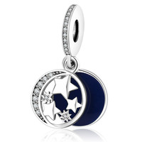 2016 Autumn 925 sterling silver Original Blue Enamel The Sky With Stars & Moon Charm Beads Fit Pandora Bracelet Dangle Charms