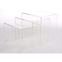 Acrylic Nesting Table 3-Pc Table Set Display Stands By Baxton Studio