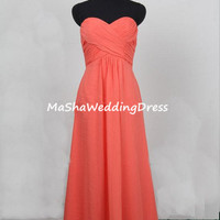 2014 Custom  Simple Empire Strapless A -Line Sleeveless Floor-length Chiffon Bridesmaid/Prom/Cocktail/Evening/Party/Homecoming Dress