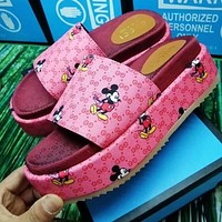 Gucci Mickey Thick bottom slippers shoes jacquard non-slip wear-resistant raw rubber bottom pink