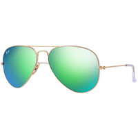 Ray ban Aviator Green flash mirror lens gold RB3025 Sunglasses