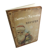 Christmas Recipe Journal, Santa Recipe Notebook, Holiday Cook Book, Gourmet or Hostess Gift, Recycled Cahier Moleskine