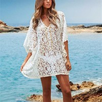 New Arrivals Sexy Beige Lace Sarong Beach Swimsuit Coverup