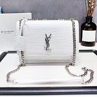 YSL Women Fashion New High Quality Leather Chain Shopping Leisure Shoulder Bag White