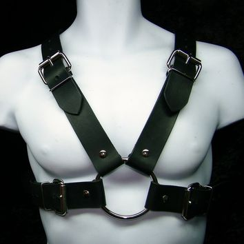 Mens Black Leather Chest Harness with Buckles Club Wear or Steampunk Look