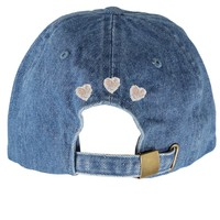 custom, baseball, cap, hat, bow and drape, bow & drape, denim, hearts, heart, applique, beads, sequin, denim