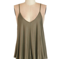 ModCloth Spaghetti Straps Lounging in Loveliness Top in Moss