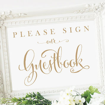 "Please Sign our Guestbook Sign - 5x7 sign - DIY Printable sign in ""Bella"" antique gold - PDF and JPG files - Instant Download"