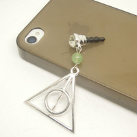 Gift for Him 1PC Deathly Hallows Stone Beaded Cell Phone Earphone Stopper Antidust Plug Charm for iPhone 4s,5,5c,5s,Samsung,HTC,Nokia