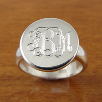 Monogram Ring, Initial Ring, Personalized Ring, Engraved Ring Bridesmaids Ring