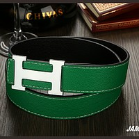 Hermes wild wide leather belt men's belt Green