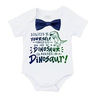 Baby Boy Dinosaur Outfit with Blue or Green Bow Tie Birthday Outfit Gift