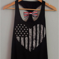 Women's American Flag Heart Striped Bow Tank Top USA Print Vest