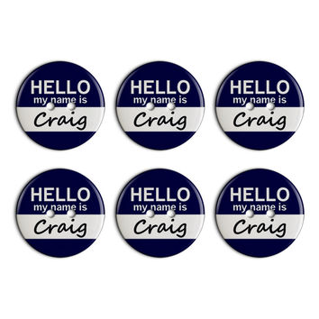 Craig Hello My Name Is Plastic Resin Button Set of 6