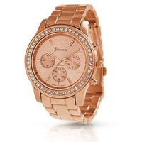 Bling Jewelry Geneva Rose Gold Plated Classic Round CZ Ladies Watch