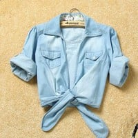 Blue Women Jean Shirt Top One Size .. on Luulla