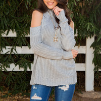 All Eyes On You Knit Top - Gray