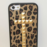 Leopard Print Studded cross iPhone 4/4s and 5 case with bumper
