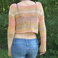 Knitted Cropped Sweater in Multicolor with  Long Sleeves / Free Shipping /  Sizes XS-XL / 15% off