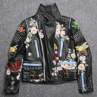 2016 autumn winter 100 real sheepskin Genuine Leather rivet bee butterfly floral snake embroidery print black jacket coat women