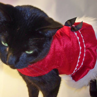CoolCats Red Velvet and Fur Christmas Dress for Cats