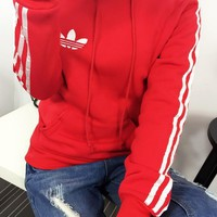 Adidas Women Embroidery  Casual Plush Pocket Sports Top Sweater Hoodie