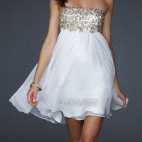 White Cheap Prom Dress Aline Dresses by WeddingBless on Etsy