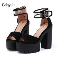 Gdgydh Fashion Platform Women Sandals Black 2017 New Summer Shoes Woman Square Heels Daughter Gift Ankle Buckle Size 35 to 39