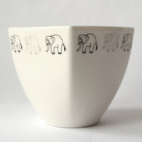 Coffee Cup with Elephants  Handmade Porcelain by KinaCeramicDesign