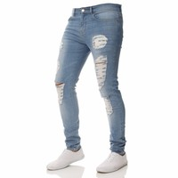 Men Jeans Stretch Skinny Ripped Hole Retro Washed Solid Casual Men Denim Jeans Lightweight Straight Mid Waist Vintage