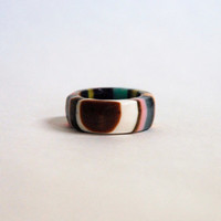 vertical striped multi colors chunky ring size 8.5 wide band tall ring Handmade resin ring
