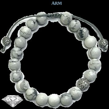 EASING ANXIETY | White Turquoise | CZ Diamond Pave | Adjustable Pull Tie Bracelet