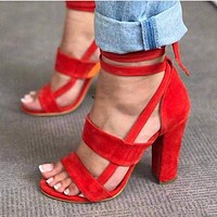 Fashion cross strap high heels thick heel large size women's sandals
