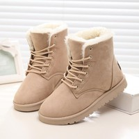 Girls' Winter Boots Waterproof Snow Suede with Plush Insole