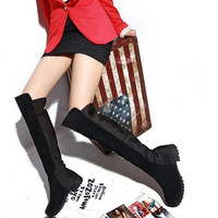 New Ladies Women Over The Knee Thigh High Shoes Suede Splice Flat Low Heel Boots = 1946631876