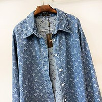 LV Louis Vuitton New fashion monogram print couple long sleeve coat blue
