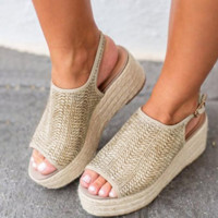 BBB 0 hot selling summer fish mouth hemp wedge strap sandals