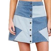 2020 new arrival women's two-color stitching skirt high waist bag hip A-line skirt