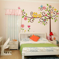 cute wise owls tree wall stickers for kids room decorations nursery cartoon children decals animals mural arts flowers colorful