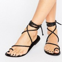 ASOS FIRE FLY Wide Fit Leather Lace Up Flat Sandals at asos.com