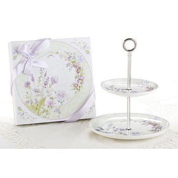 Lavender Rose 2 Tier Cake Stand - Gift Boxed