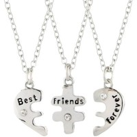 claires 925 plate silver sterling best friends forever necklace chain split puzzle breaks into 3 pieces wedding bridesmaid jewelry new