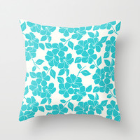 Hibiscus Floral: Turquoise Throw Pillow by Eileen Paulino