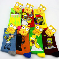 Simpsons Movie Homer Spider Pig Scarface Duffs Auto Bus driver Socks Cotton Bart