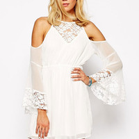 White Off Shoulder Bell Sleeve Floral Lace Chiffon Mini Dress