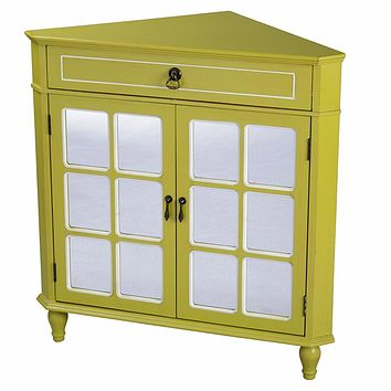 """Display Cabinet - 31"""" X 17"""" X 32"""" Yellow MDF, Wood, Mirrored Glass Corner Cabinet with a Drawer and Doors"""