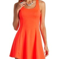 Neon Textured Strappy Skater Dress by Charlotte Russe